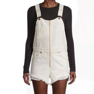 Free People Sunkissed Short Overalls Off White NWT
